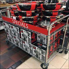Macys Cookware Cart Specials Go Mobile – Fixtures Close Up Wire Shelving, Retail Design, Visual Merchandising, Display Ideas, Cookware, Cart, Shelf, Diy Kitchen Appliances, Covered Wagon