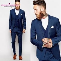collarless shirt - blue suit