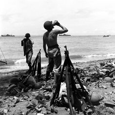 Marines on Guadalcanal (1942). Note that they were issued nearly obsolete M1903 bolt-action .30-06 Springfield rifles, while the Army had begun receiving the new M1 Garand.