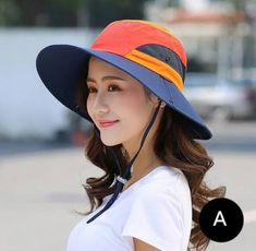 Color block bucket hat with strings for sun protection wide brim travel hiking  hats 2d46e9495f5b