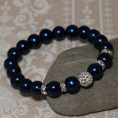 Hey, I found this really awesome Etsy listing at https://www.etsy.com/listing/206290823/stretch-shamballa-bracelet-dark-blue