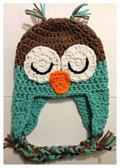 Childs Crochet Sleeping Owl Beanie on Etsy, $15.00