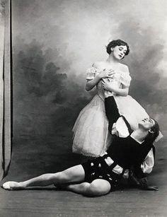 1910: Tamara Karsavina and Vaslav Nijinsky in 'Giselle' - On the painted photo backdrop