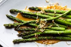 Nobu's Fried Asparagus with Miso Dressing (note to self: use gluten-free miso & soy sauce)