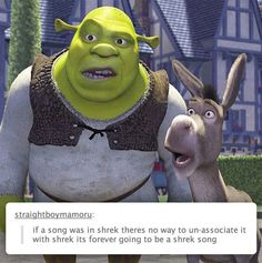 Funny pictures about Shrek Songs. Oh, and cool pics about Shrek Songs. Also, Shrek Songs photos. Shrek Memes, Dankest Memes, Funny Memes, Hilarious, Jokes, Scott Pilgrim, Disney And Dreamworks, Disney Pixar, Punk Disney