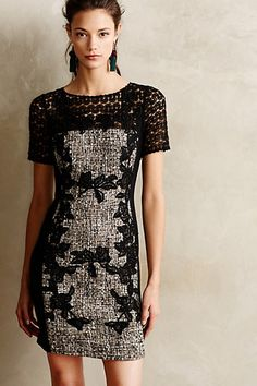 Laced Boucle Sheath - anthropologie.com. I like the contrast of tweed and lace, but the sleeves aren't doing it for me.
