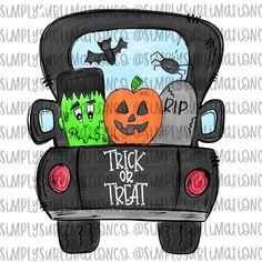 Halloween Trick or Treat Pumpkin Truck Ready to Press Sublimation Transfer Halloween Rocks, Fall Halloween, Halloween Crafts, Halloween Phrases, Halloween Letters, Halloween Baskets, Halloween Humor, Halloween Bags, Fall Crafts