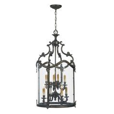 Ornate Foyer Hanging Lantern in French Bronze