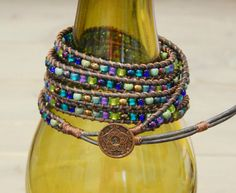 Peacock Inspired Bohemian 5x Wrap Bracelet by TowerCreationsbyTC