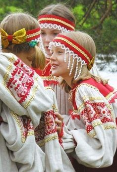 Russian girls from a folk group wearing traditional costumes. #kids