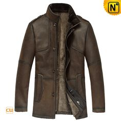 Men's Warm Fur Lined Lambskin Leather Coat CW833348 $1389.89 - www.cwmalls.com