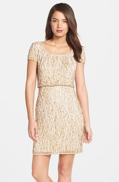Free shipping and returns on Adrianna Papell Beaded Blouson Dress at Nordstrom.com. Glimmering beads and sequins scale the mesh length of a short-sleeve blouson dress for a luminous finish.