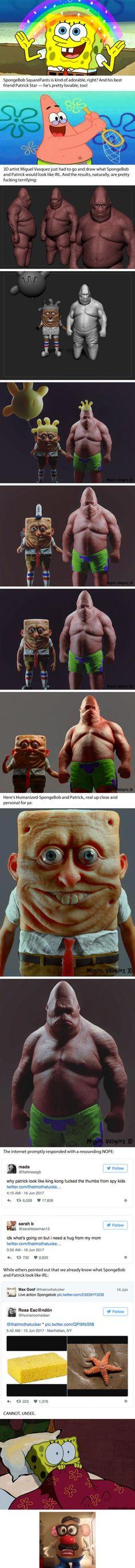 Artist drew SpongeBob and Patrick as a real-life human