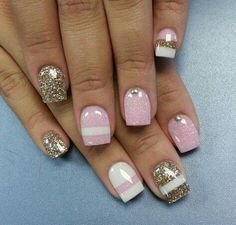 Gold, pink, & white nails.... Would be cute silver too;)