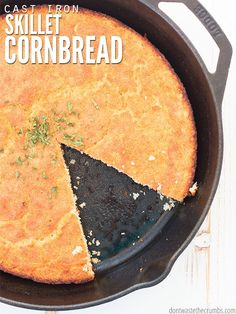 Cast Iron Skillet Cornbread Recipe (no sugar added) We think this cast iron skillet cornbread recipe is the best. You can decide if it's southern or not, but it uses buttermilk, no sugar and it's so moist! Cornbread Recipe No Sugar, Southern Cornbread Recipe, Moist Cornbread, Cornbread Recipes, Cast Iron Skillet Cornbread, Homemade Focaccia Bread, Seasoning Cast Iron, Recipe Creator, Skillet Meals