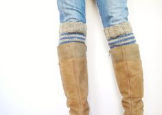 Knit Boot Cuffs, Striped Boot Socks, Reversible Cuff, Denim Blue and Oatmeal, Wool Boot Liners, Womens Leg Warmers, Handknit Accessory on Etsy, $32.00