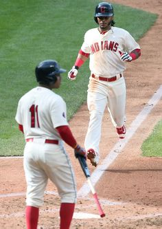 Michael Martinez scores on a throwing error by the Boston Red Sox pitcher Rick Porcello, 3rd inning, on October 4, 2015 at Progressive Field.  (Chuck Crow/The Plain Dealer)