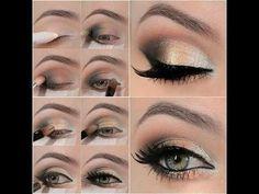Dale brillo a tus ojos claros con sombras doradas