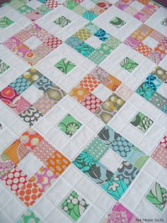 Fun variation of colors on a 9 patch, try using one main fabric for the white squares, like all light pink