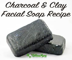 Charcoal & Clay Facial Soap Recipe - This facial soap recipe uses activated charcoal and bentonite clay with a base of coconut oil, olive oil, castor oil and essential oils.