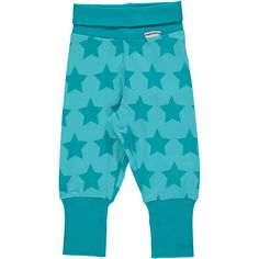 Turquoise Stars Ribbed Pants Monochromatic Kids Clothes by Maxomorra. Organic Cotton Kids Clothes. Offered in Canada by Modern Rascals.