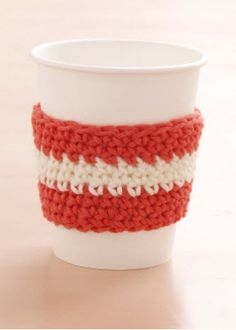 Crochet this festive cup cozy and enjoy your favorite fall beverage! #marthastewartcrafts
