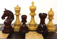 """Pieces are constructed out of Blood Rosewood and Boxwood with felt bottoms. BLOOD ROSEWOOD. TRIPLE WEIGHTED. NO BOARD OR STORAGE. King: 4 3/8"""" tall With 1 7/8"""" base - 3.5 oz. Pawn: 2 3/8"""" tall With 1 3/8"""" base.   eBay! - $299 Ganesh Temple, How To Play Chess, Wood Turning Projects, Man Set, Chess Pieces, Greek, Chess Sets, Blood, Hobbies"""