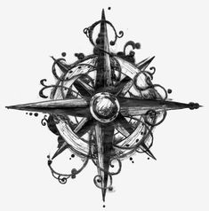 Compass tattoo design.