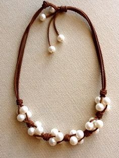 Leather and freshwater pearl cluster choker