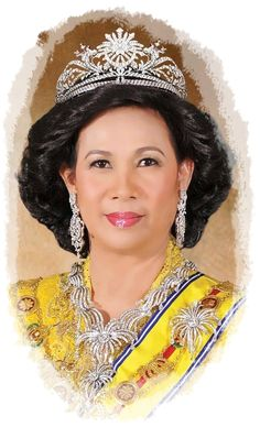 Sultanah Haminah Hamidun, Queen consort of Sultan Abdul Halim, the Sultan of Kedah, wearing the Gandik Diraja Tiara, Malaysia (1994; made by Garrards; diamonds, platinum).