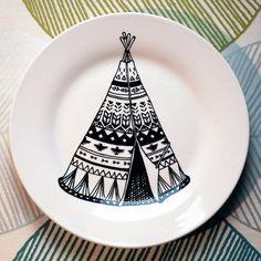 Hand Drawn Plate - Build me a Teepee