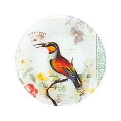 Plato Postre Vidrio Pájaros