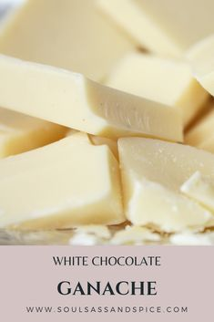 White chocolate makes any dessert taste just a little bit extra special. It only takes two ingredients to quickly throw together this ganache. Use it to finish off a cake or other dessert.