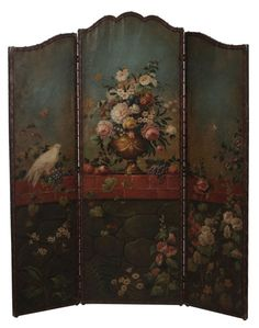 Vintage Painted Canvas Three-Panel : Lot 558