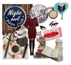 """Night owl Book Club"" by lucypumkinjack-1 ❤ liked on Polyvore featuring art"