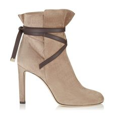 300d7bfb97f Jimmy Choo Dalal 100 Light Mocha Cashmere Suede Ankle Booties With Dark  Brown Leather Strap Detail
