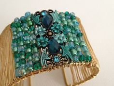 Gold Wire and Vintage Blue MultiColor Glass Stone Wrapped Cuff Bracelet. Vintage Style. Handcrafted Artisan Jewerly. SRAJD