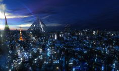 Inspiration for Neo Seoul. Source: Background from Guilty Crown (Tokyo)