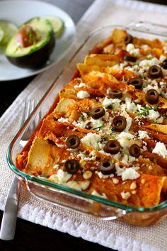 Sweet Potato and Black Bean Enchiladas - Vegan w/ Daiya (or non-dairy cheese of choice)
