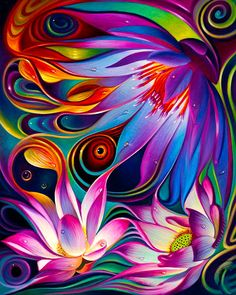 So many ways to color this art! I believe my Arteza WaterColor Blending Pens! Colorful Wallpaper, Flower Wallpaper, Art Fractal, Psychedelic Art, Abstract Flowers, Lovers Art, Art Pictures, Fantasy Art, Art Drawings