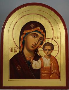 Virgin Mary Kazanskaya (Theotokos of Kazan) - This is a premium quality icon made with pure 23kt gold leaf. Painted using traditional technique - egg tempera, solid lime wood panel with slats on the back, varnish, 23 karat gold leaf. About our icons BlessedMart offers hand-painted religious icons that follow the Russian, Greek, Byzantine and Roman Catholic