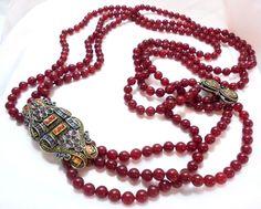 Heidi Daus Long 3 Strand Carnelian Bead Necklace Colorful Crystal Side Station #heididaus #StrandString
