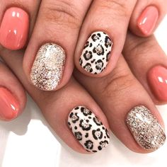 Dream Nails, Love Nails, Pretty Nails, Leopard Nail Designs, Animal Nail Designs, Cute Nail Art Designs, Gel Nail Designs, Leopard Print Nails, Nail Manicure