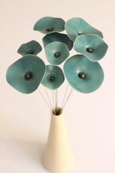 Fleur en céramique de oasis Turquoise, turquoise oasis bouquet fleurs pour les mariages