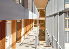 Belus & Hénocq Architectes has added a timber-clad educational centre and student dormitory to a boarding school in the Saint-Denis area of Paris. Dormitory Room, Student Dormitory, Student Room, Space Architecture, Architecture Student, School Hall, High School, Architectural Section, Sims House