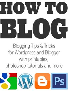 Collection of blogging tips and tricks, blogger tutorials, photoshop tutorials, help with google, printables and so much more. #blogging #blog