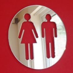 Male & Female Round WC Door Sign - Mirror Circle Toilet Sign 12cm: Amazon.co.uk: Kitchen & Home