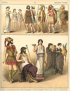 Greek fashion - Fabrics made of linen and wool. Togas and cloaks were also popular.