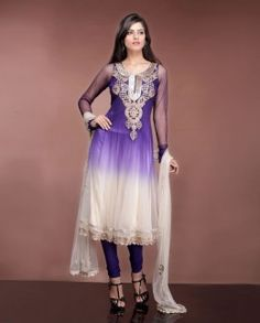 Purple & Cream shaded Net Kalidar Suit with net sleeves and Net Dupatta by Dolly J
