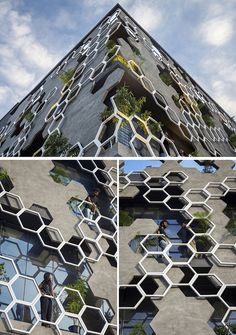 Studio Ardete have recently completed 'Hexalace', a new building in Mohali, India, that features a hexagonal pattern on its facade. architecture Studio Ardete Have Designed A Building With A Hexagonal Patterned Facade Architecture Design, Industrial Architecture, Futuristic Architecture, Chinese Architecture, Architecture Office, Architecture Sketchbook, Victorian Architecture, Architecture Portfolio, Green Facade